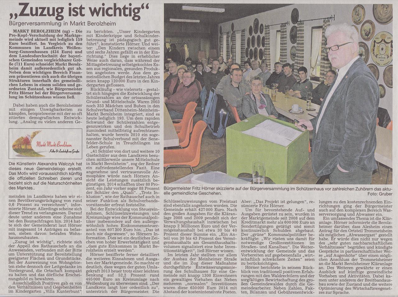 Bericht im Altmühlboten vom 24.03.2015