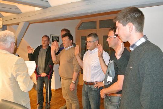 v.l.: Wilfried Fuhrmann, Ludwig Färber, Karl Beck, Werner Engelhardt, Rainer Linsenmeier, Martin Schmidt